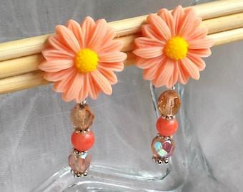 Peach Sculpted Flower Dangling Clip Earrings