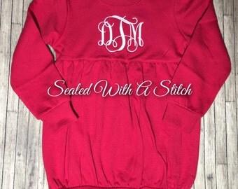 Red Toddler Girls Long Sleeve Bubble Sweatshirt
