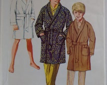 """Vintage 60's Simplicity 8326 Sewing Pattern Boys Teen Junior Small Men's Dressing Gown Bath Robe Smoking Jacket Size Chest 30"""""""