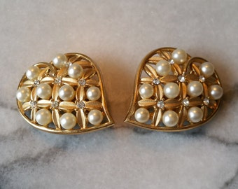 Vintage Trifari Gold Hearts with Pearls and Rhinestone Clip On Earrings