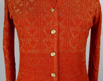 Vintage 1970s Evening Ensemble-3 Piece Knit Cardigan Top Skirt -Gorgeous Burnt Orange with Gold Metallic Thread