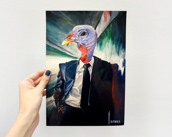 Digital Giclee Art Print /Turkey Dapper Tuxedo  / 8 x 12 11 x 14 Acrylic Painting Print / Wall Art Decor