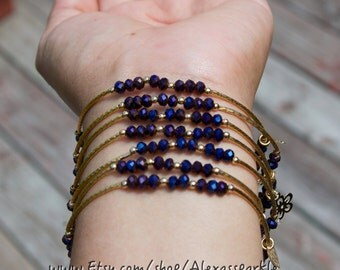 Metallic Purple beaded charm bracelet Set with Gold Plated Charms - Semanario pulseras metalicas morado con dijes chapa de oro