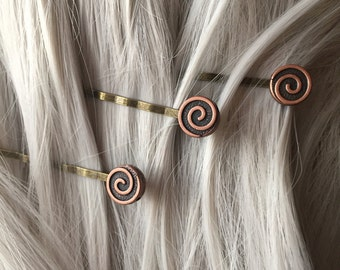 Stocking Stuffer Swirl Hair Pins - Copper Womens Hair Accessories - Hair Clip Women - Bobby Pin Set - Hair Accessories For Women Hair Clips