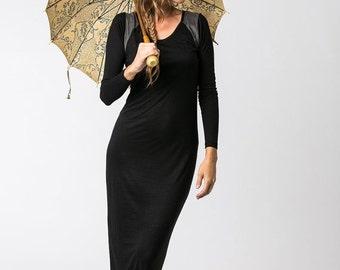 VALENTINES SALE Oda Black Maxi Dress, Boho Dress, Casual Dress, Long Sleeve Black Dress, Body-con Dress, Winter Dress, Womens Clothes, HNRW0