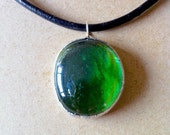 Green Stained Glass Pendant on Gloss Leather Band w Cable Lock/ Emerald Green Crystal Pendant/ Circular LampWork Glass on Leather Necklace