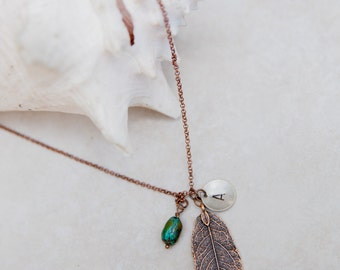 Personalized Necklace, Initial Jewelry, Copper Leaf Charm, long turquoise necklace, layering necklace, bohemian leaf charm, Custom Jewelry