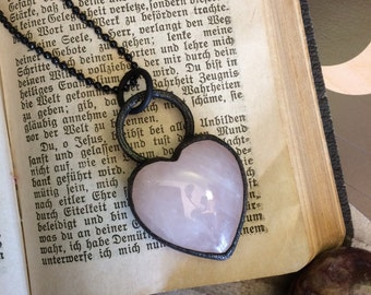 Rose Quartz Necklace , Heart Pendant Necklace , Crystal Heart Necklace , Black Pink Heart Jewelry , Healing Crystals Rose Quartz Heart Charm