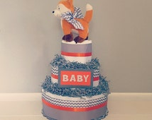 Diaper Cake/ Hunting Woodland Theme Baby Shower/ Grey Chevron & Orange Diaper Cake/ Boy Diaper Cake/ Woodland Diaper Cake/ Baby Boy
