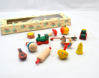 Vintage Wood Ornament Lot, Set of 12 Mini Christmas Ornaments from East Germany, Erzebirge Style Children's Toys, In Box