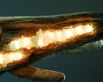 Dazzling Seaglass and Driftwood Lighting Sculpture