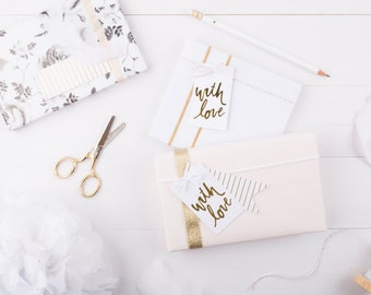 Gold Foil With Love Gift Tags