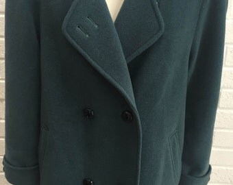 Womens vintage 1970's mohair coat. Teal. (UK size 14-16)