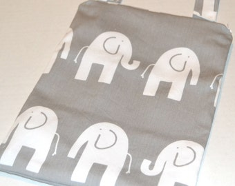 """SALE! Hanging Wetbag in Premier Print """" Grey Elephants"""" Small Wetbag // Kitchen Wetbag // Diaper Wetbag"""