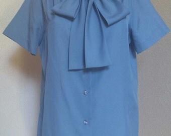 Lee Mar ~ Vintage Periwinkle Bow Tie Secretary Blouse - Extra Large