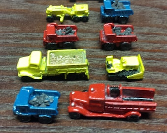 9 Vintage Miniature Toy Trucks