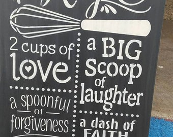 Stenciled wood sign, subway sign, our family recipe sign, family sign handmade sign