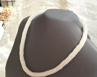Beaded Choker - Pearl White Collar - Netted Necklace - Birthday Gift - Anniversary Gift - Statement Necklace - Spiral Choker - White Woven