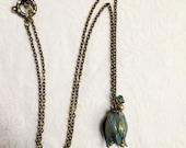 Vintage Tulip necklace. Vintaj tulip necklace, Vintaj necklace, patina necklace, patina flower, patinated tulip,, Swarovski, green patina