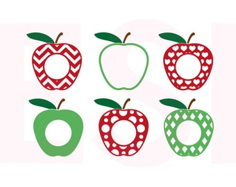 Patterned Apple svg, Teacher appreciation svg, Teacher monogram svg, SVG, DXF, EPS, svg cut files, use with Silhouette Studio and Cricut.