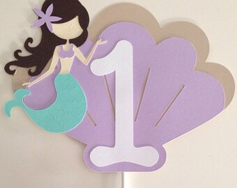 Mermaid Cake Topper | Aqua & Lavender Cake Topper | Smash Cake Mermaid Topper | Under The Sea Decor | Mermaid Decor | Party Decor