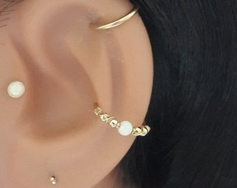 White Opal conch piercing, gold conch ring, silver conch hoop, conch piercing, october's birthstone,16-22 gauge, 12-16mm inner diameter