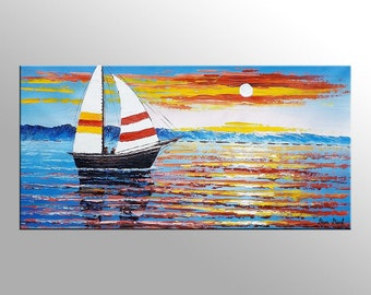 Sail Boat Painting, Canvas Painting, Sunset Painting, Oil Painting, Framed Painting, Wall Art, Sea Painting, Canvas Art, Abstract Painting
