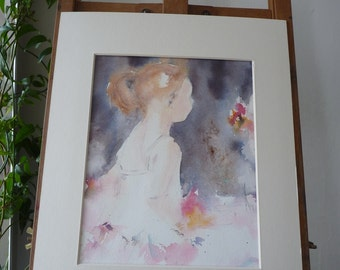 Original Watercolour: little dancer, pink