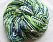 Hand dyed yarn,blue / green / white, variegated yarn, worsted, fingering bulky weight, superwash merino, superwash nylon