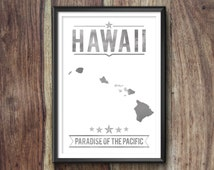 Hawaii State Typography Print, Typography Poster, Hawaii Poster, Hawaii Art, Hawaii Gift, Hawaii Decor, Hawaii Print, Hawaii Love, Hawaii