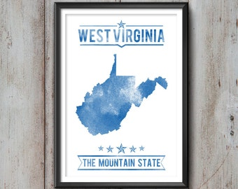 West Virginia State Typography Print, Typography Poster, West Virginia Poster, West Virginia Art, West Virginia Gift, West Virginia Decor