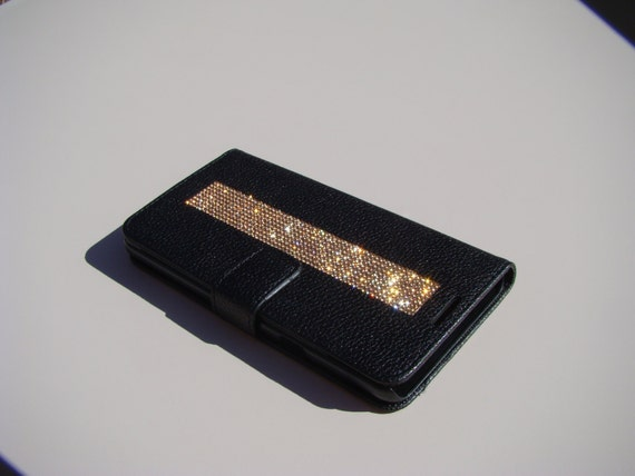 Galaxy Note 5 Rose Gold Diamond Crystals on Black Wallet Case. Velvet/Silk Pouch bag Included, Genuine Rangsee Crystal Cases.