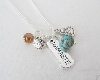 Yoga necklace, buddha necklace, lotus necklace