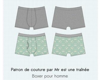 """Patron de couture PDF, """"Warren"""" , Caleçon boxer pour homme, XS à XXL, en français"""