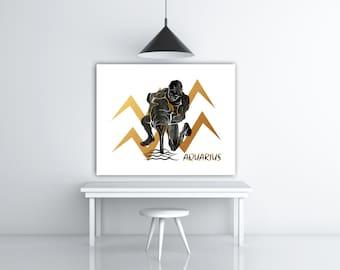 Aquarius Zodiac Gift, Horoscope Astrology Art, Zodiac Poster, Friend Birthday Astrology Print, Black Watercolor Digital Print Art Black Gold