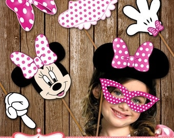 Photo Booth Props, Birthday Photo Props, Minnie Mouse Party Props Download Print LL-0023-14