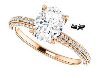 Moissanite Engagement Ring 14kt Rose Gold, Forever One, Wedding Ring, Oval Engagement, Side Diamonds #8207