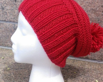 Red slouchy hat / Red knit hat / Winter red beanie / Red pom pom hat / Red slouch / Slouchy hat / Hipster hat / Winter hat