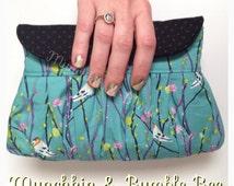 Simply Classic Clutch, evening bag, clutch bag, birds, petal and plume, petal and plume bag, race day, fashion clutch, cute bag, aqua clutch