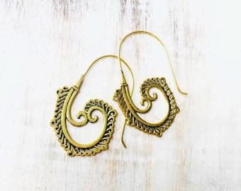 Large Brass Spiral Earrings, Boho Earrings, Tribal Earrings, Hoop Earrings, Gold Earrings, Gipsy Earrings, Tribal Belly Dance Jewellery.