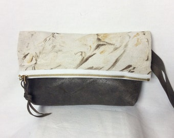 Marbled Canvas and Leather Clutch