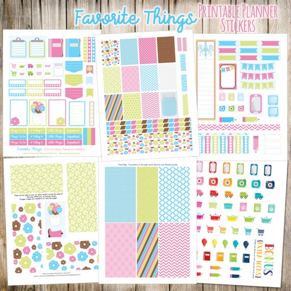Favorite Things Printable Planner Stickers - 6 Full Pages!  (Made to fit The Happy Planner by MAMBI - Create 365)