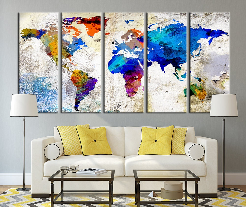 world map canvas print large wall art world by extralargewallart. Black Bedroom Furniture Sets. Home Design Ideas