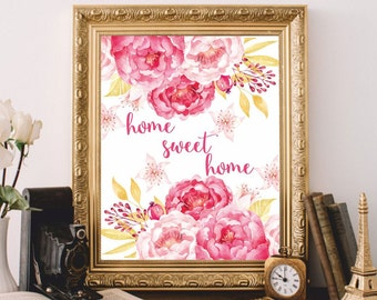 Printable art Home Sweet Home Wall Art Prints Watercolor Digital file Art Print Home decor Wall decor Home decoration Printable Quote 8x10