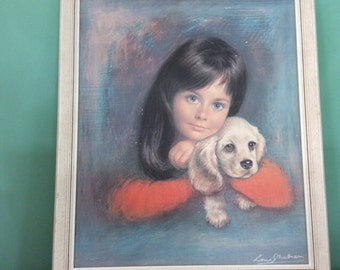 "Vintage Kitsch ""Puppy Love"" Print by Lou Shabner - Tretchikoff, Lynch era."
