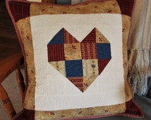 Quilted Pillow Cover, Rustic Heart Throw Pillow, Country Sofa Cushion, Red Blue Throw Pillow, 18 inch Lounge Pillow Quilt, Housewarming Gift