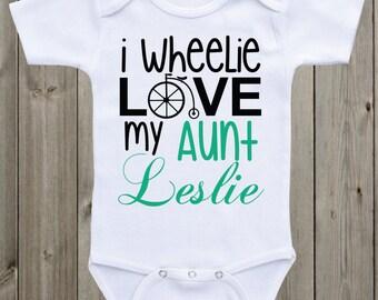 Aunt Onesie I wheelie love my Aunt Baby Shirt Custom Onesie Aunt Shirt Personalized Onesie Personalized Aunt Shirt Baby Shower Gift