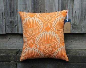 Linen Pillow in Orange Floral