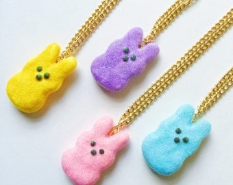 Peeps Charm Necklace Miniature Food Jewelry Polymer Clay