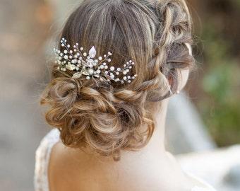 Pearl bridal hair comb Wedding hair comb Decorative hair comb Pearl bridal headpiece Leaf bridal hair comb Leaves wedding comb Floral comb